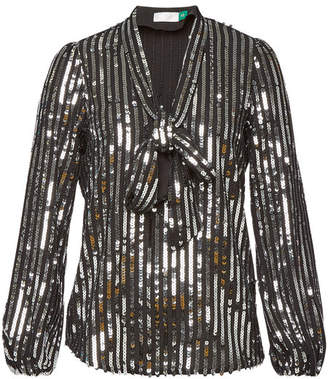 RIXO LONDON Moss Sequin Top with Self-Tie Bow
