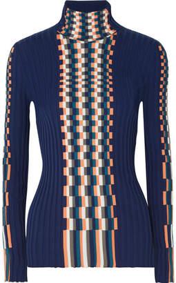 Loewe Ribbed Intarsia Cotton Turtleneck Sweater - Navy