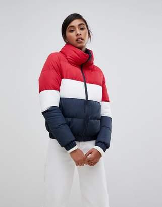 Brave Soul union padded coat in color block