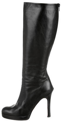 Christian Louboutin Leather Platform Knee High Boots $535 thestylecure.com