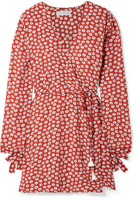Faithfull The Brand Poppy Wrap-effect Floral-print Crepe Mini Dress - Brick