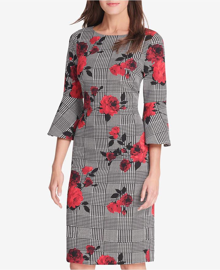 Jessica Howard Floral Mixed-Print Bell-Sleeve Sheath Dress