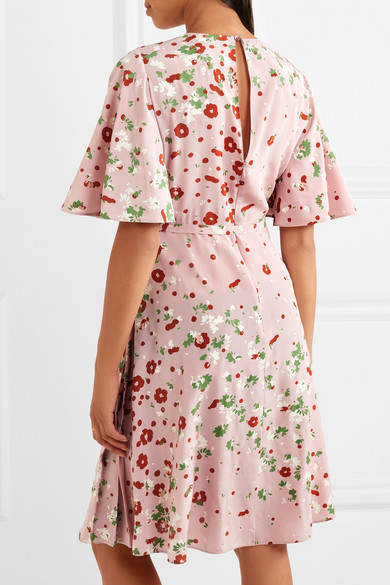 Valentino - Floral-print Silk Crepe De Chine Dress - Pink 3