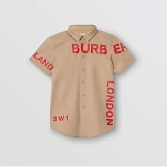 Burberry Childrens Short-sleeve Horseferry Print Cotton Shirt