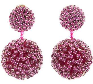Oscar de la Renta Pave Encrusted Ball Clip-On Earrings
