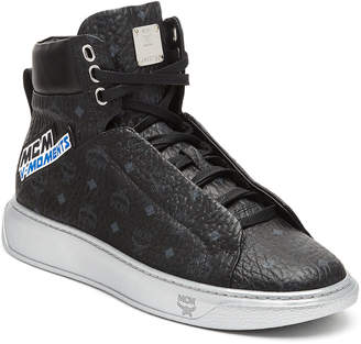 MCM Men's Victory Patch High Top Sneakers In Visetos