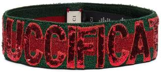Gucci green and red sequin Guccification headband