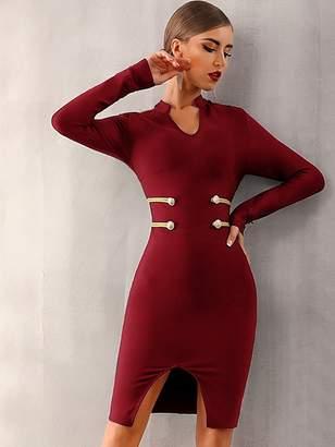 Shein Adyce Rope & Button Detail Slit Hem Dress