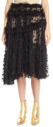 Anais Jourden Twinkle Shimmery Pleated Ruffle Tulle Skirt