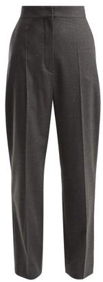 Joseph Haim Wool Blend Flannel Trousers - Womens - Dark Grey