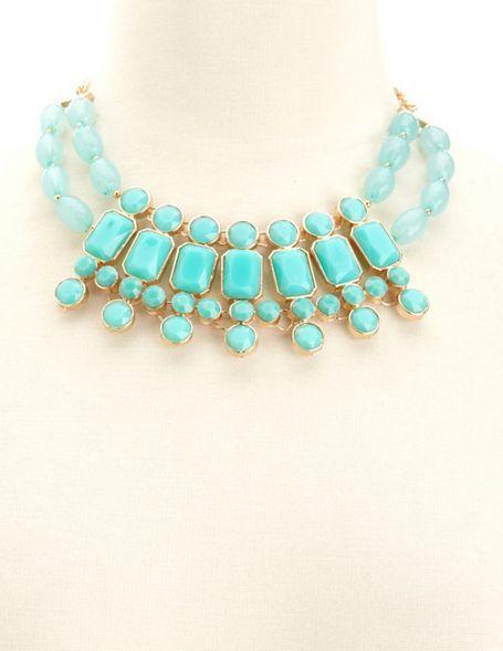 Charlotte Russe Layered Stone Bib Necklace