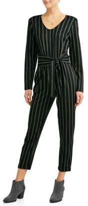 ALISON ANDREWS Women's Wrap Waist Vertical Stripe Jumpsuit