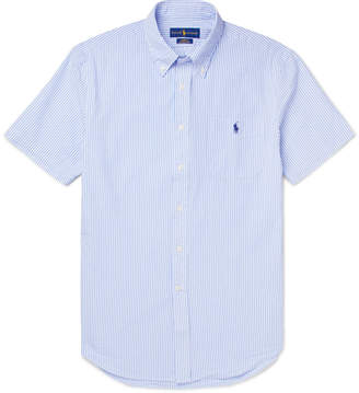 Polo Ralph Lauren Slim-Fit Button-Down Collar Striped Cotton-Seersucker Shirt