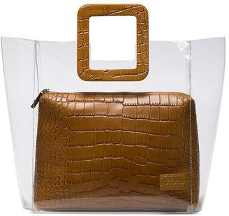 STAUD brown Shirley crocodile embossed leather PVC tote