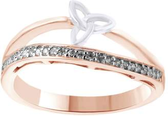 Celtic AFFY White Natural Diamond Two-Tone Trinity Knot Bow Band Ring in 14k Gold (0.12 Cttw, I2-I3 Clarity, I-J Color)
