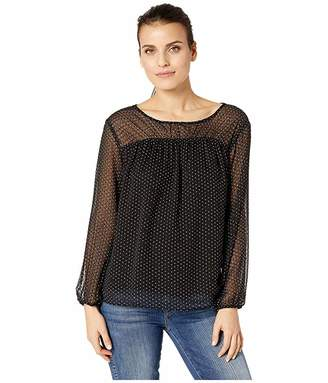 Vince Camuto Specialty Size Petite Long Sleeve Dot Burnout Ruched Yoke Blouse