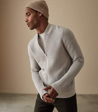 Reiss ORDER BY MIDNIGHT DEC 15TH FOR CHRISTMAS DELIVERY MARCUS KNITTED BOMBER JACKET Grey