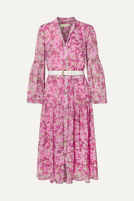 MICHAEL Michael Kors Belted Tiered Floral-print Chiffon Midi Dress