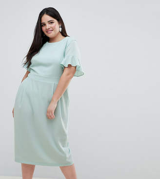 Asos DESIGN Curve Midi Wiggle Dress With Fluted Sleeve