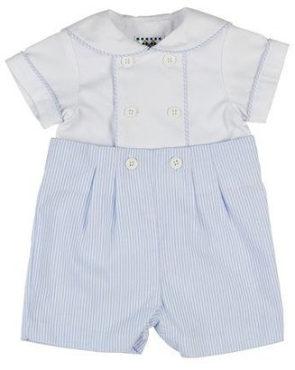 Florence Eiseman Ottoman Double-Breasted Sailor Shortall Set, Blue/White, Size 3-18 Months $88 thestylecure.com