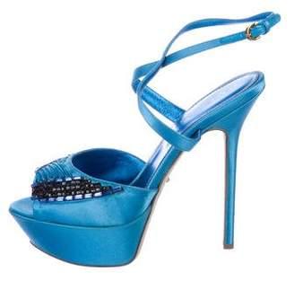 Sergio Rossi Satin Platform Sandals