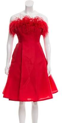 Angel Sanchez Feather-Trimmed Silk Dress