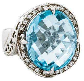 Charriol Blue Topaz & Diamond Cocktail Ring