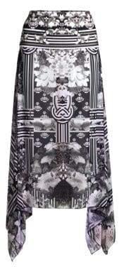 Camilla Graphic Floral& Stripe Column Silk Handkerchief Sarong