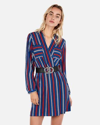 Express Petite Surplice Striped Pocket Shirt Dress