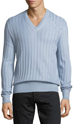 Tom Ford Cashmere-Silk Rib-Knit V-Neck Sweater