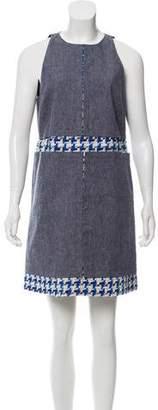 Peter Som Tweed-Accented Linen Dress