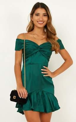 Showpo No Way Through dress in emerald satin - 6 (XS) Going Out