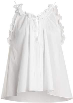 Three Graces London - Erissena Ruffle Trimmed Cotton Pyjama Top - Womens - White