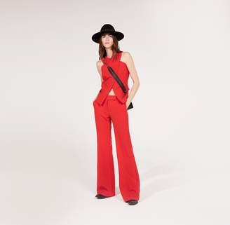 Amanda Wakeley Red Luxe Tailoring Flared Trousers