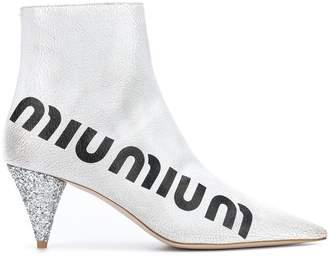 Miu Miu crackled logo boots