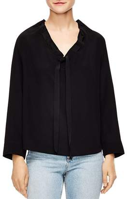 Sandro Leo Laced Collar Silk Top