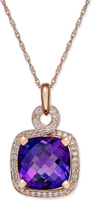 Macy's Amethyst (6-7/8 ct. t.w.) and Diamond (1/3 ct. t.w.) Pendant Necklace in 14k Rose Gold