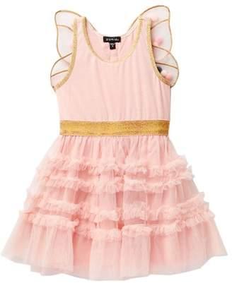 Zunie Metallic Waist Dress With Pom Pom Butterfly Wings (Little Girls)