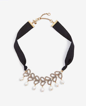 Ann Taylor Pearlized Pave Ribbon Necklace