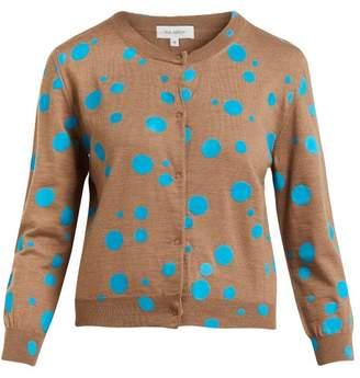 Isa Arfen Flocked Polka Dot Wool Cardigan - Womens - Blue Multi