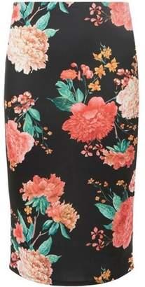 Dorothy Perkins Womens Black Floral Scuba Pencil Skirt