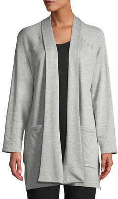 Eileen Fisher Shaw-Collar Open-Front Cotton-Fleece Kimono Cardigan