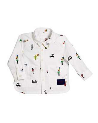 Burberry Deccie Embroidered Button-Down Shirt, Size 6M-3