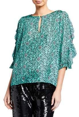 Figue Deryne Silk Ruffled Half-Sleeve Top