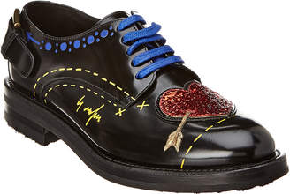 Dolce & Gabbana Heart Patch Lace-Up Leather Oxford