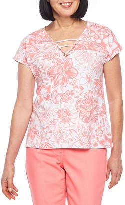 HEARTS OF PALM Hearts Of Palm Blush Strokes-Womens V Neck Short Sleeve T-Shirt