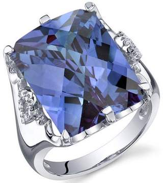 Oravo 16.00 Carat Created Alexandrite Rhodium-Plated Sterling Silver Engagement Ring