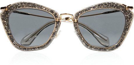 Miu Miu Cat eye glitter acetate and metal sunglasses