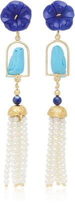 Lapis Of Rare Origin Swingers 18K Yellow Gold Vermeil Turquoise and Pearl Earrings