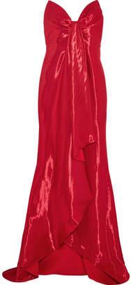Oscar de la Renta - Strapless Draped Lamé Gown - Red